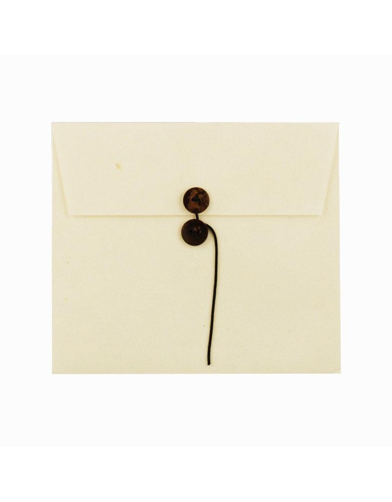 Set of  6 envelopes, buttonclosure