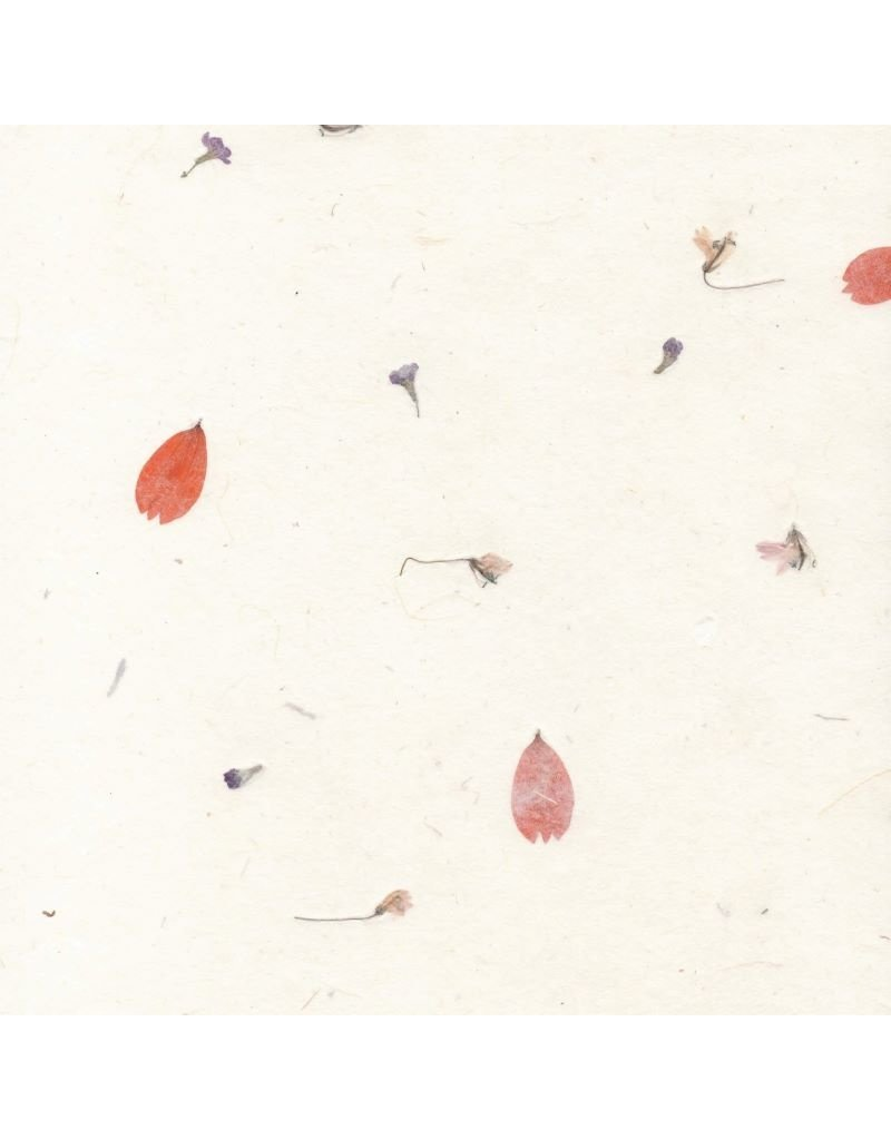 Gampi paper with flowers, 90 gsm