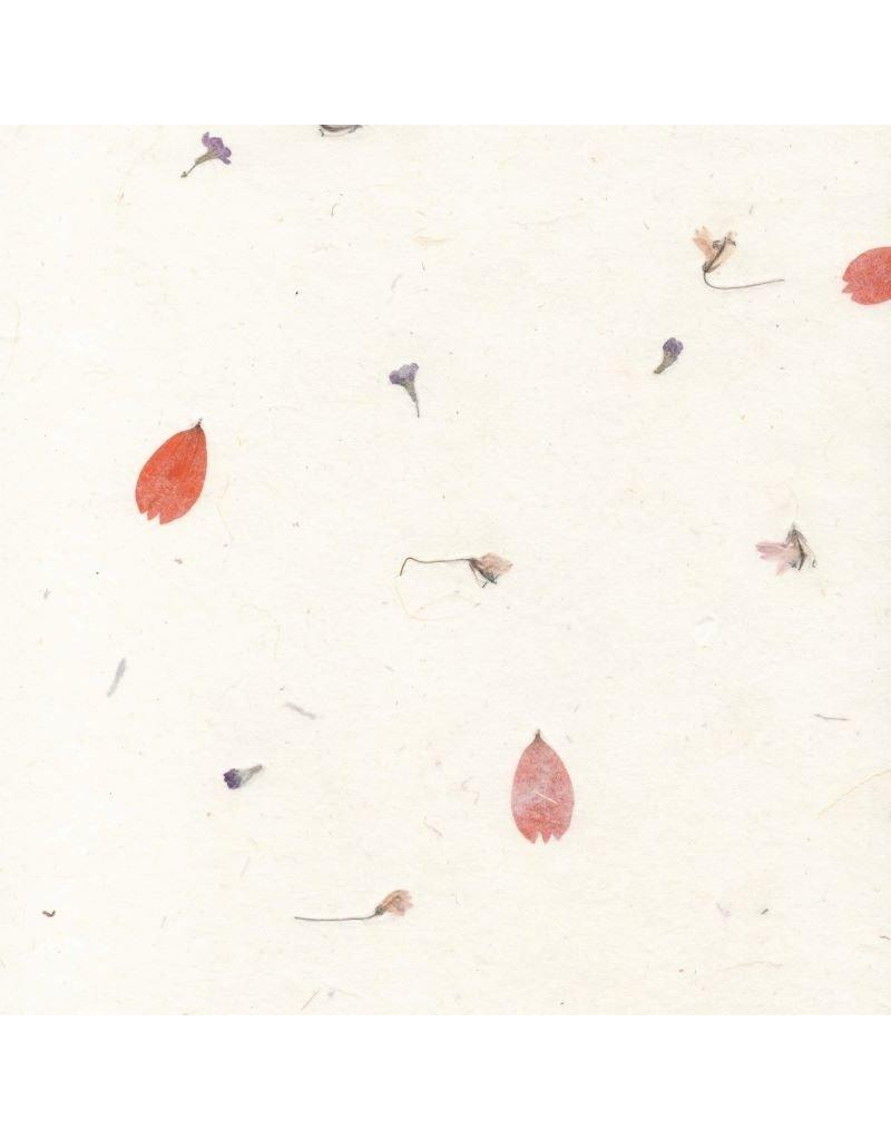 Gampi papier met bloemenmix, 90 gr.