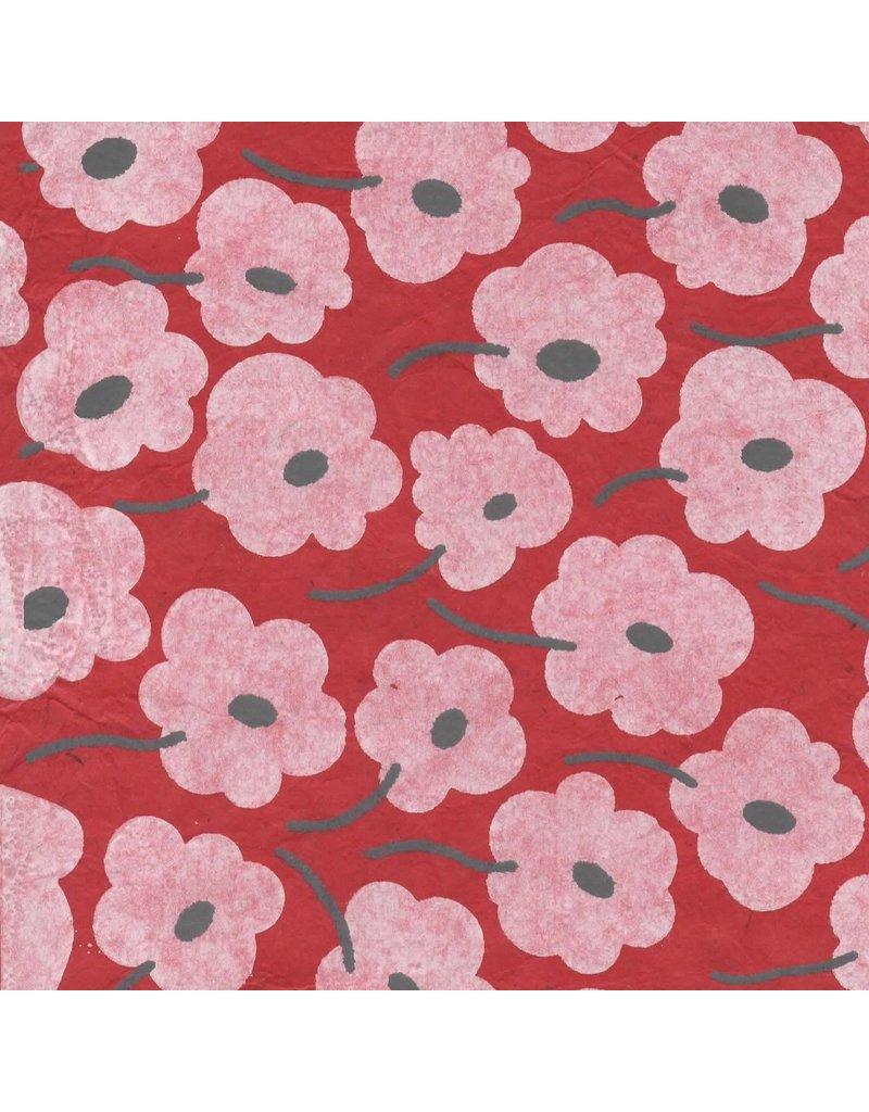 Papier Lokta avec impression graphique de fleurs