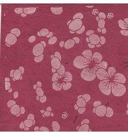 NE744  Papier lokta avec imprimé floral japonais