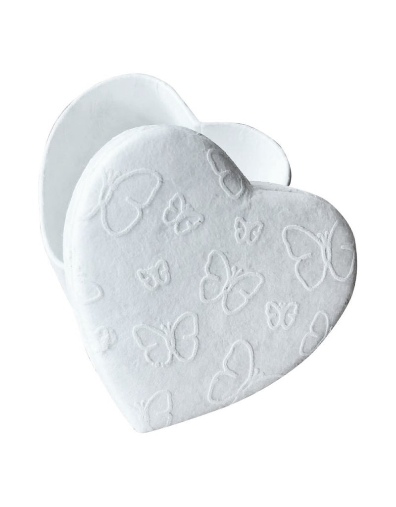 Heartshape box with white butterflyprint