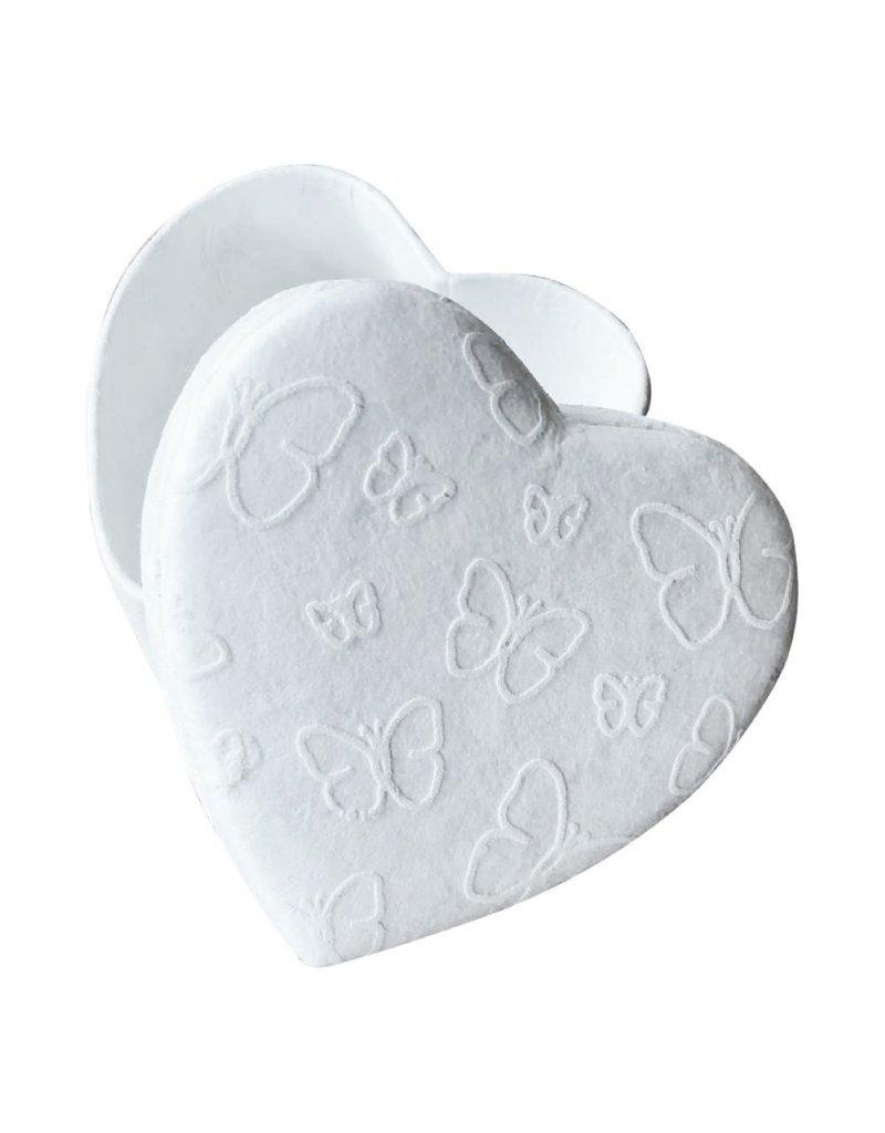 petite boîte en forme de coeur impression petits papillons