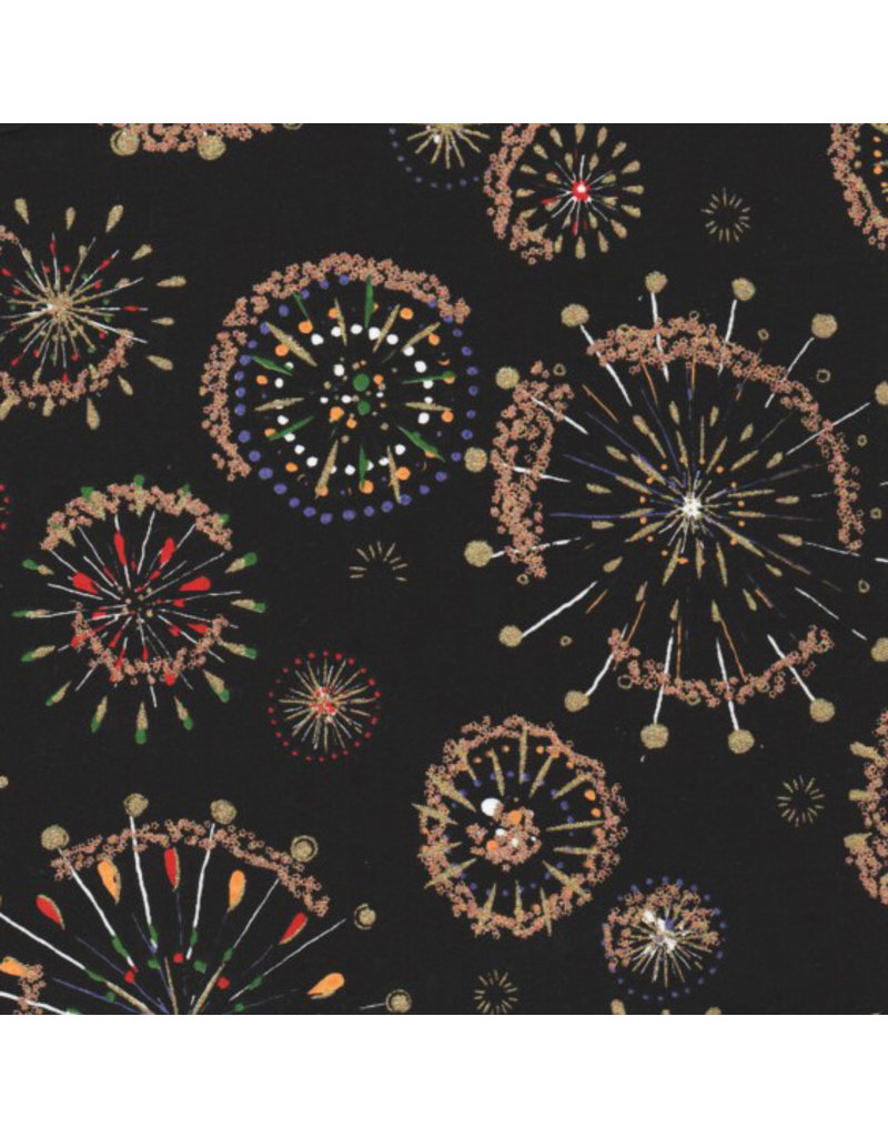 Japanese paper with fireworks