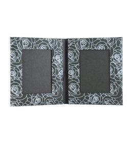 TH603 Dubbele fotolijst zilveren rozen print