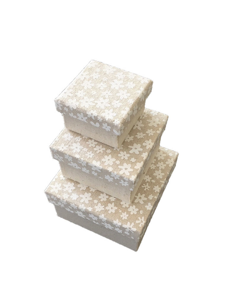 Set of 3 boxes cotton fabric