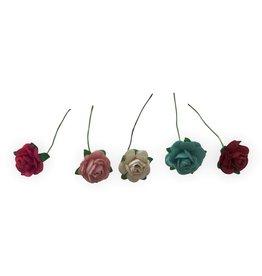 TH406 Set 100 Blumen aus Maulbeerpapier S