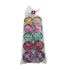 . TH091 set of 10 tea lights with flower