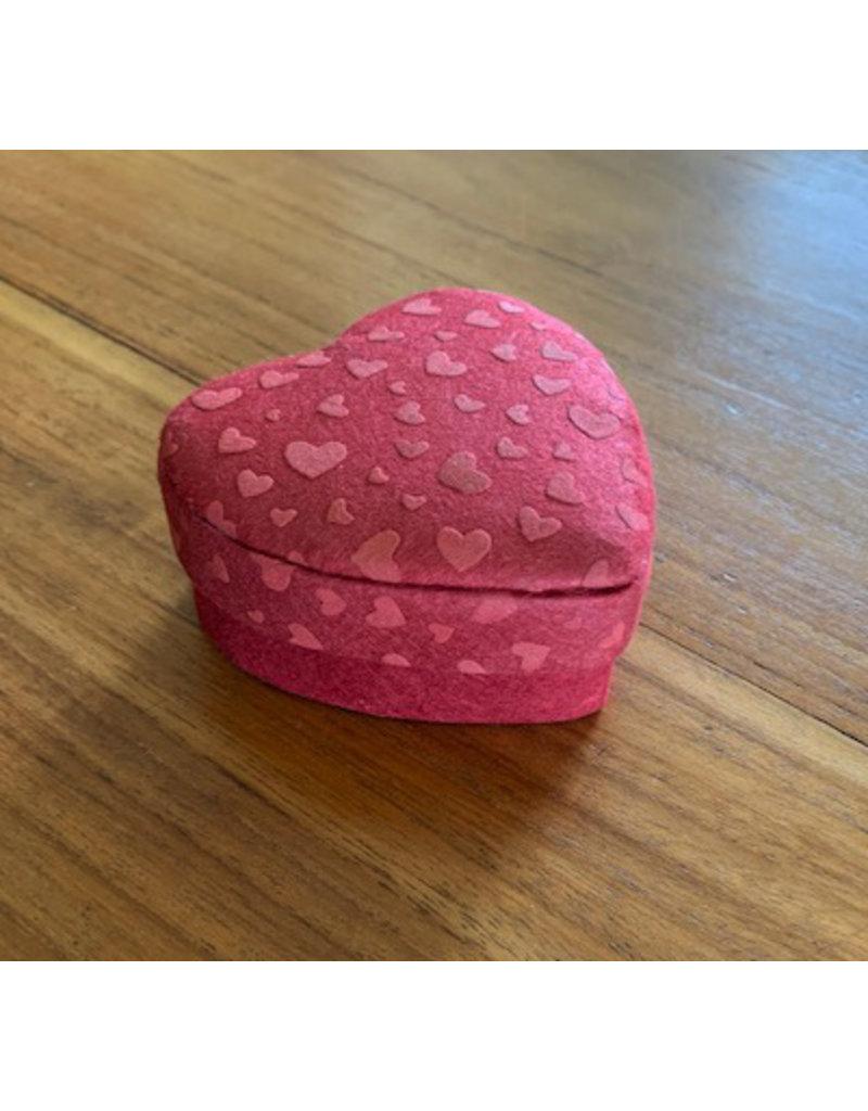 Heartshape box with white hearts print