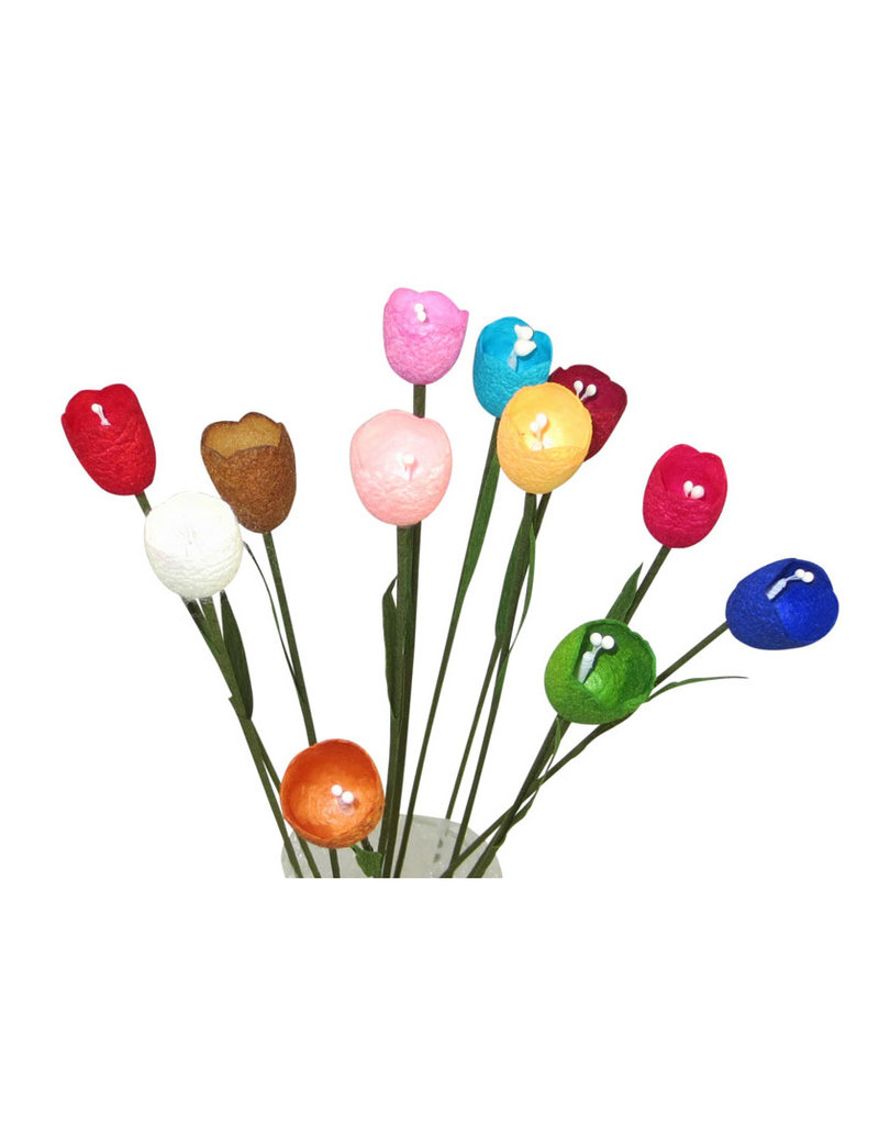 Set 12 fleurs en cocons de soie