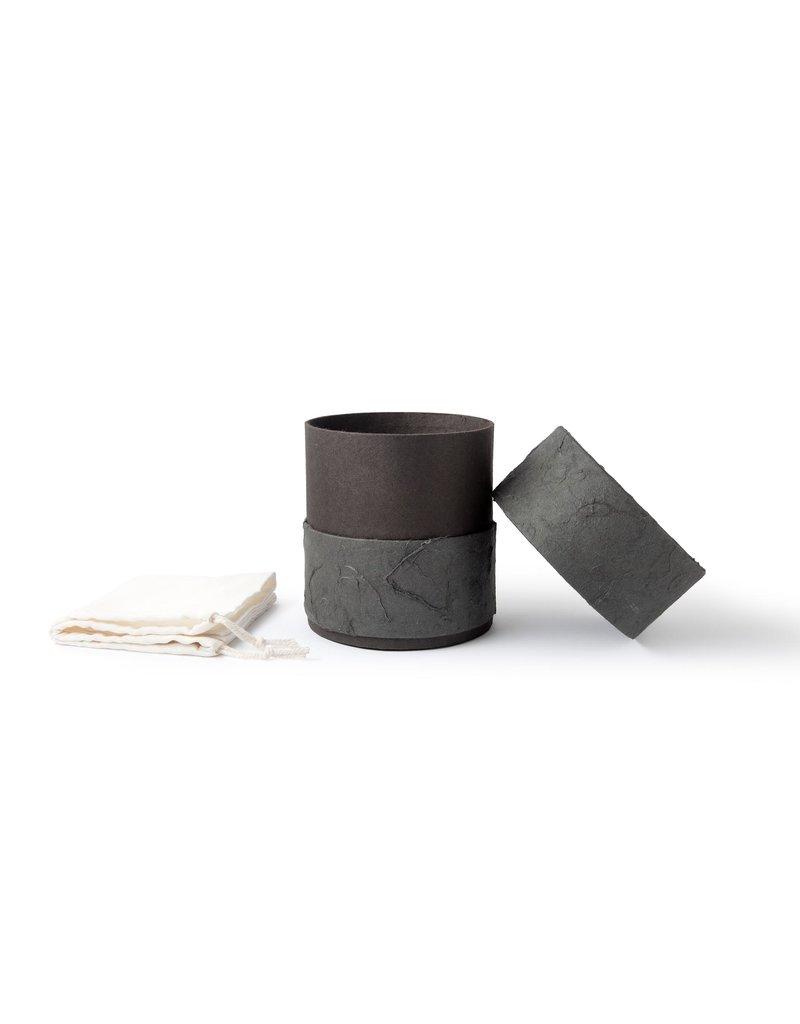 . Eco urn zeegroen bekleed met natuurpapier
