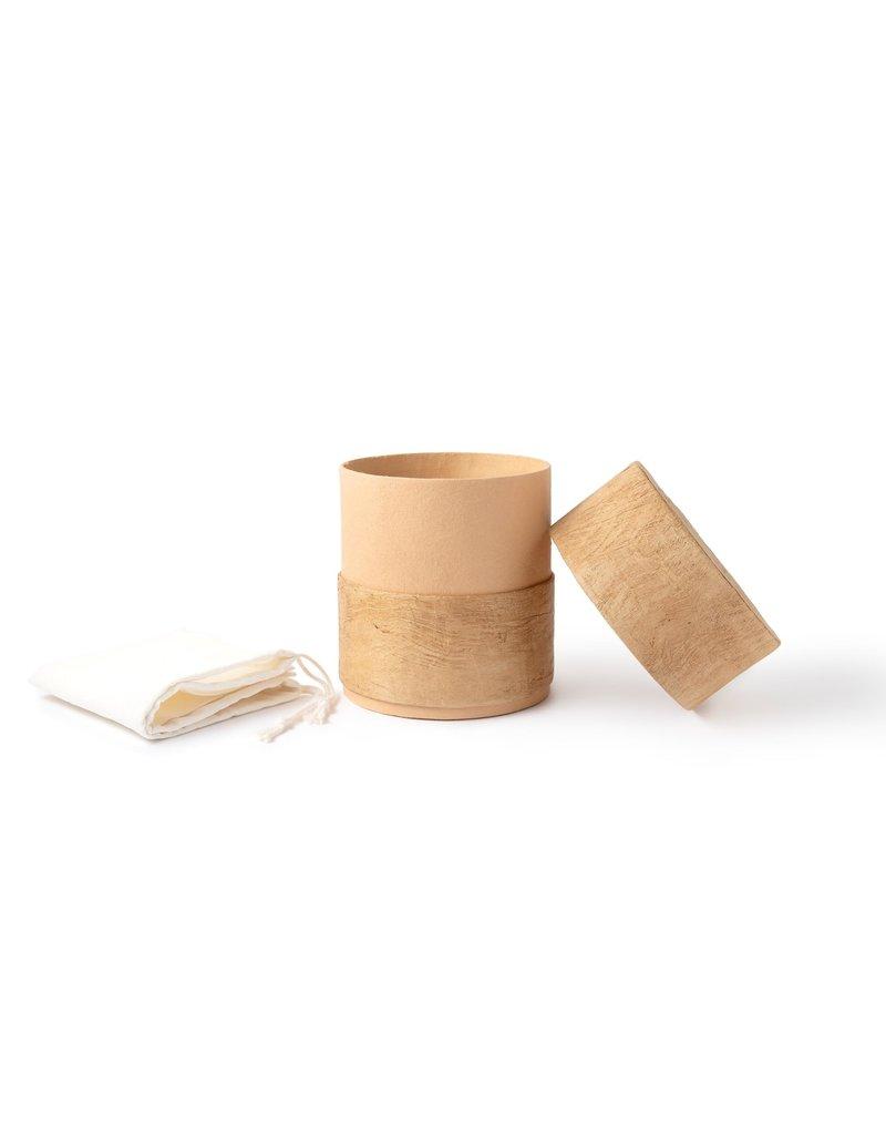 . Eco urn bruin bekleed met boombast
