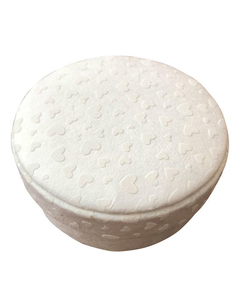 Round box with hearts print