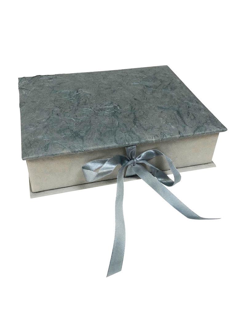Keepsake box bark fibres, satin ribbon