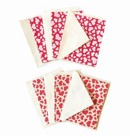 NE502 Set of 6 gift cards with hearts print