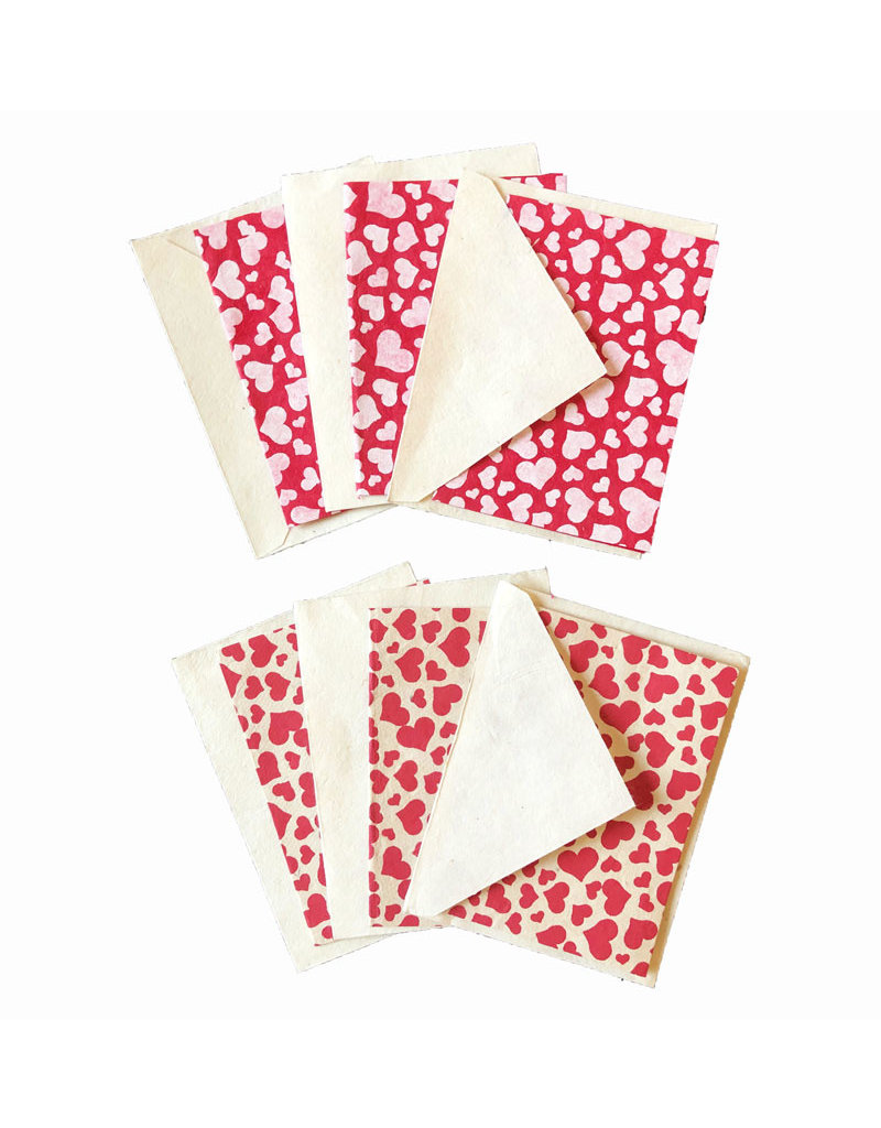 Set of 6 gift cards with hearts print