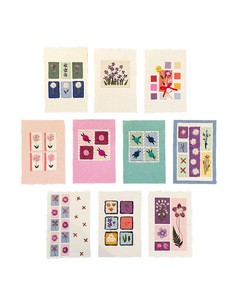 Set 10 cards/envelopes floral decoration