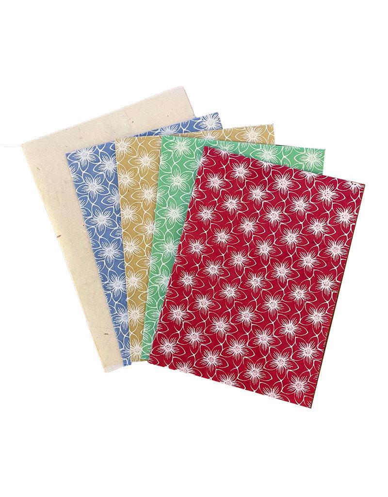 4 kaarten/env. met bloemprint