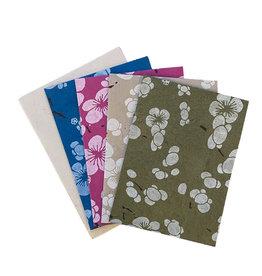 NE516 Ensemble de 4 cartes/env. fleurs japonais