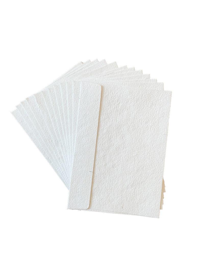 Set 20 envelopes white cottonpaper /silveryarn