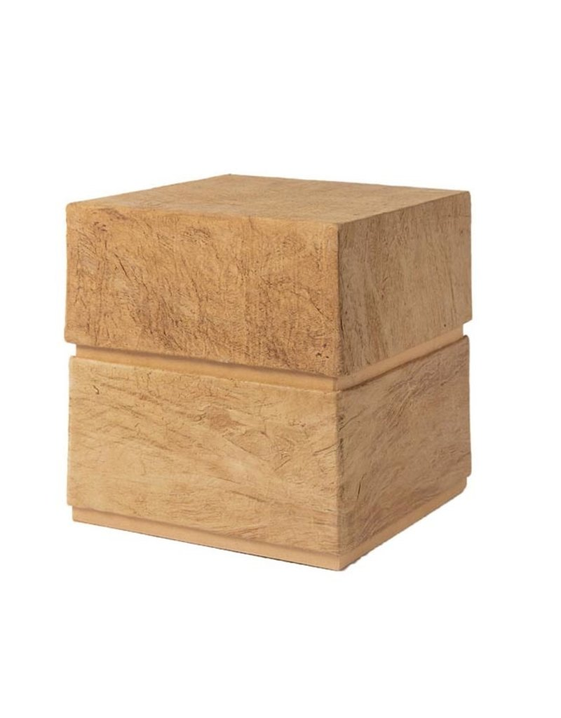 . Cube shaped urn lined with mulberry tree bark