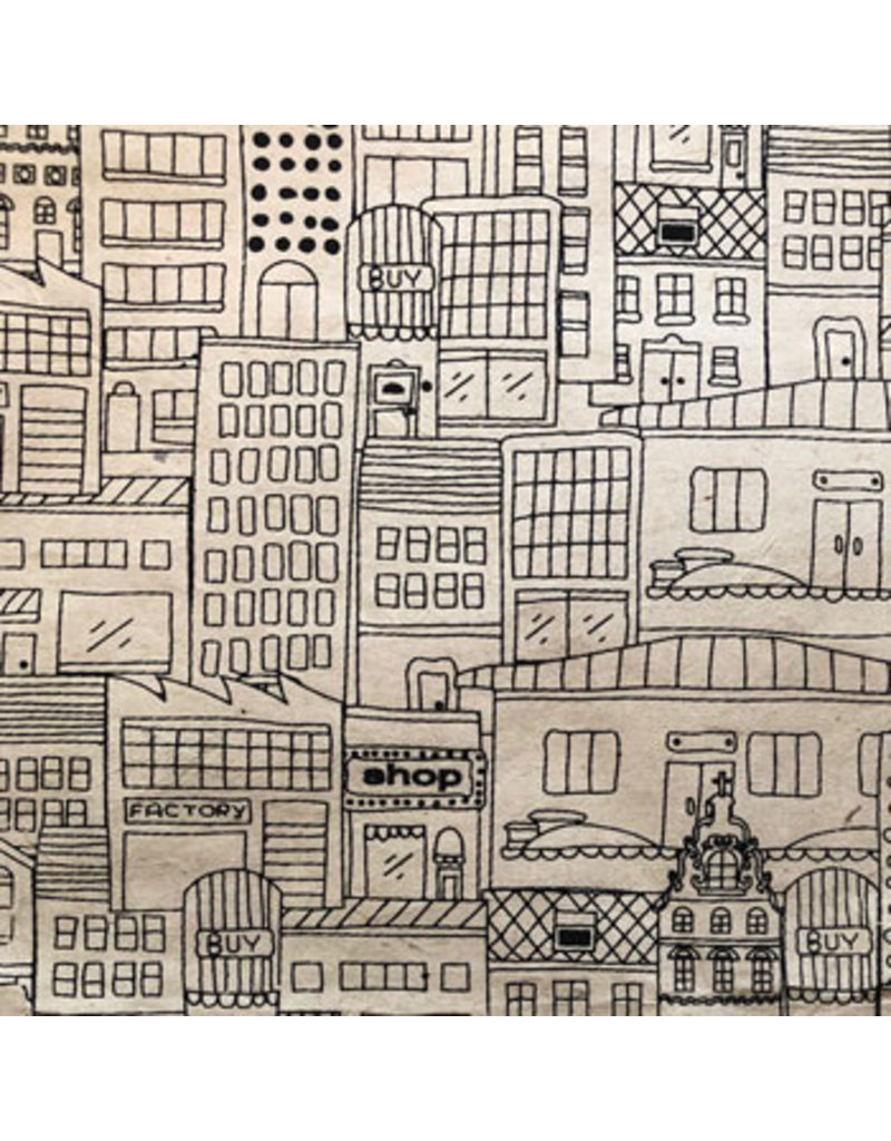 Lokta papier met huizenprint