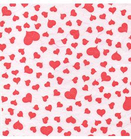 TH855 papier murier, blanc aux petits coeurs rouges
