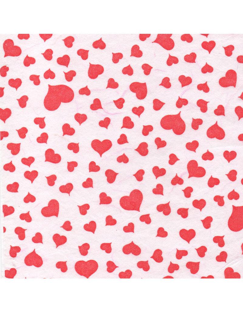 mulberrypapier, wit met rode hartjes
