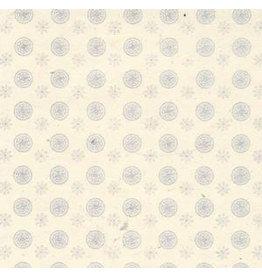 NE742 Papier lokta petites fleurs/cercle