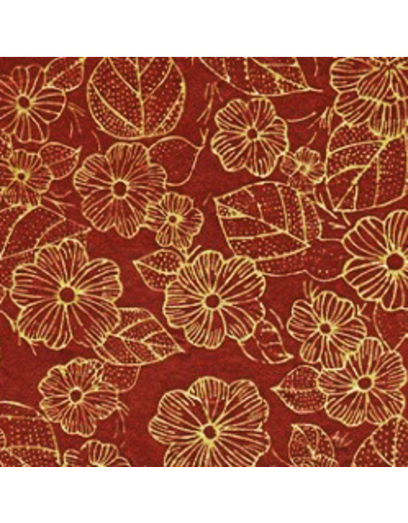 Lokta paper with a print of flowers in gold colour.