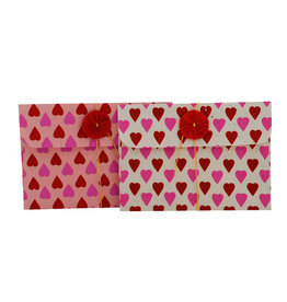 NE412 set of 6 gift envelopes, hearts print