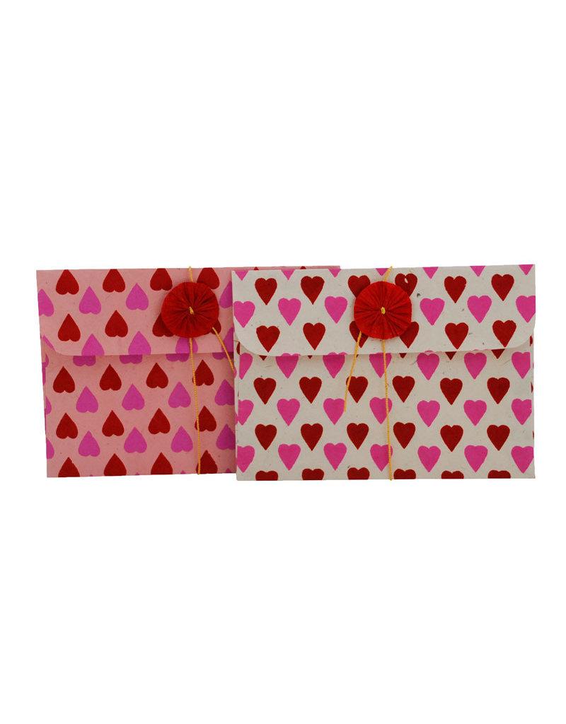 set of 6 gift envelopes, hearts print