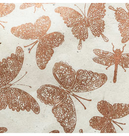 NE856 Lokta paper with dragonfly/butterfly print