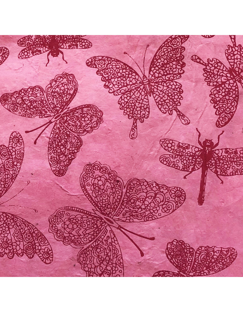 Lokta papier met  libelle/vlinderprint
