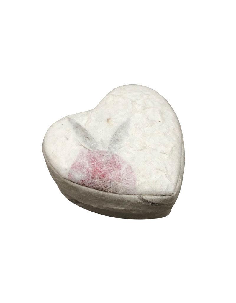 Boîte coeur papier de murier aux fleurs