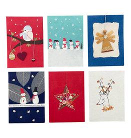 . PN260 Set 6 Kaarten/enveloppen met Kerstdessin