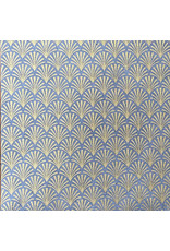 Lokta papier met print van waaiertjes in goud