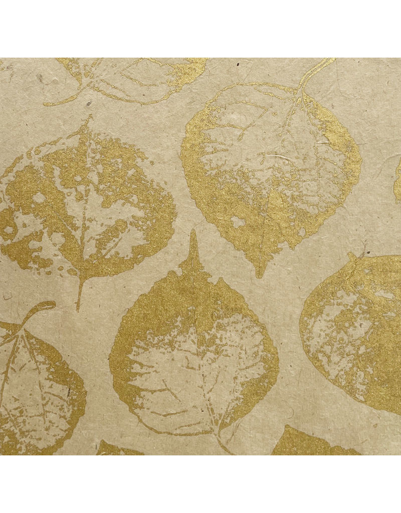 Lokta paper with print of bodhi leaves in gold