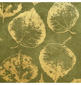 NE764 Lokta paper with print of bodhi leaves in gold,