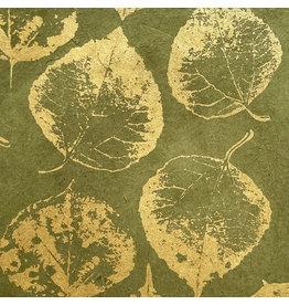 NE764 Lokta-Papier mit Druck von Bodhi-Blättern in Gold