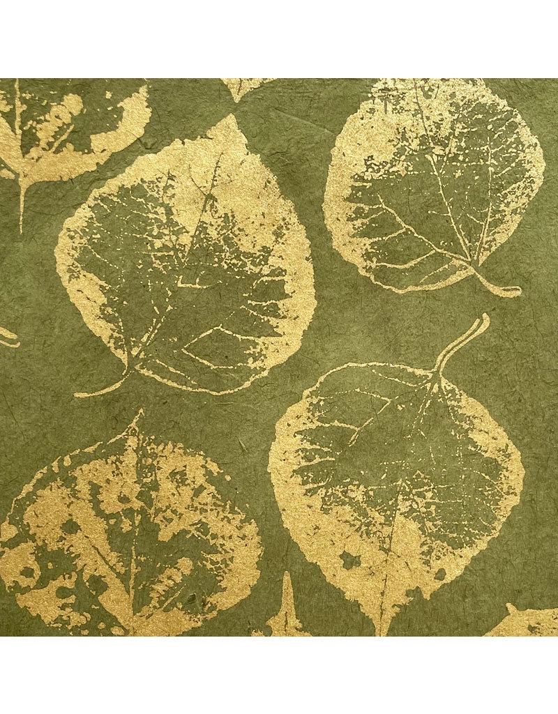 Lokta papier met print van bodhi bladeren in goud