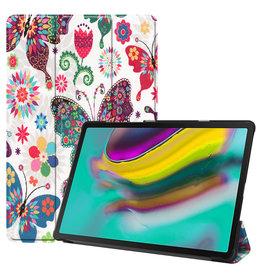 Serise Samsung Galaxy Tab S5e hoes - Tri-Fold Book Case - Vlinders
