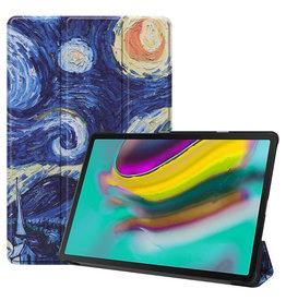 Serise Samsung Galaxy Tab S5e hoes - Tri-Fold Book Case - Sterrenhemel