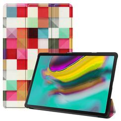 Samsung Galaxy Tab S5e hoes - Tri-Fold Book Case - Blocks