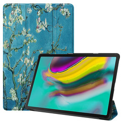Samsung Galaxy Tab S5e hoes - Tri-Fold Book Case - Witte bloesem