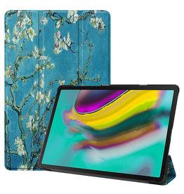 Serise Samsung Galaxy Tab S5e hoes - Tri-Fold Book Case - Witte bloesem