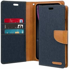 iPhone XR hoes - Mercury Canvas Diary Wallet Case - Donker Blauw