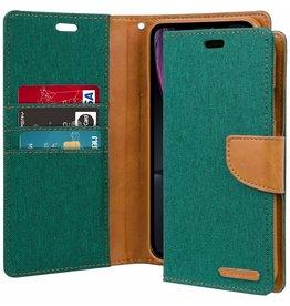 Mercury Goospery iPhone XR hoes - Mercury Canvas Diary Wallet Case - Groen