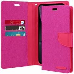 iPhone XR hoes - Mercury Canvas Diary Wallet Case - Roze
