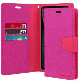 Mercury Goospery iPhone XR hoes - Mercury Canvas Diary Wallet Case - Roze